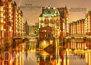 virtuelle weihnachtskarten E-Card Weihnachten in Speicherstadt Hamburg in Gold, ohne Werbung (307)