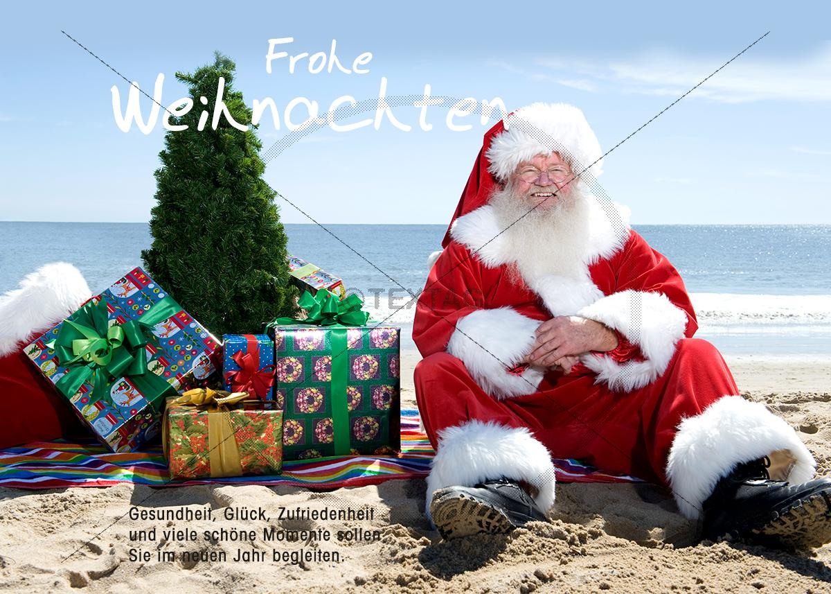 lustige weihnachts ecard weihnachtsmann am strand. Black Bedroom Furniture Sets. Home Design Ideas