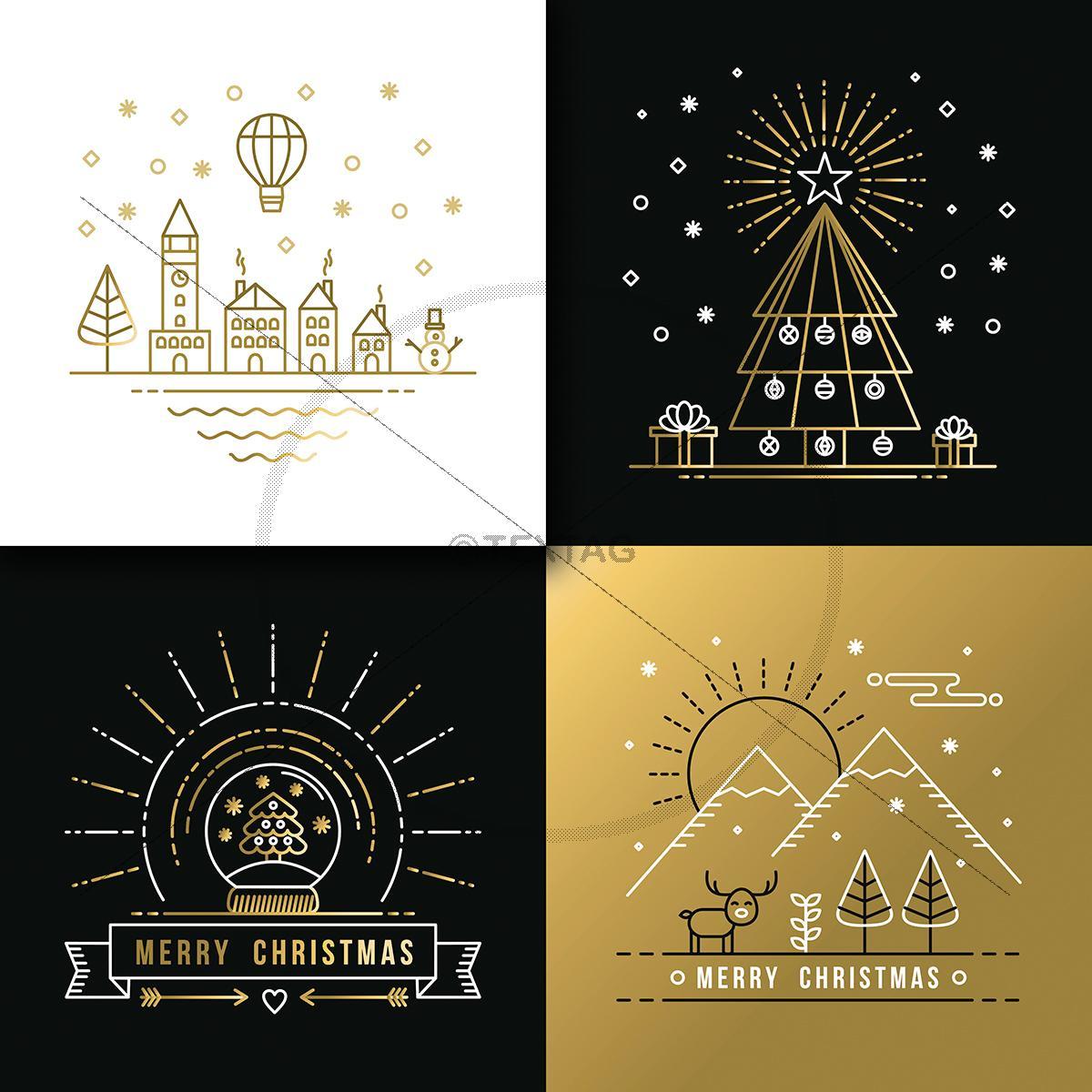 elegante weihnachts ecard gold schwarz f r firmen. Black Bedroom Furniture Sets. Home Design Ideas
