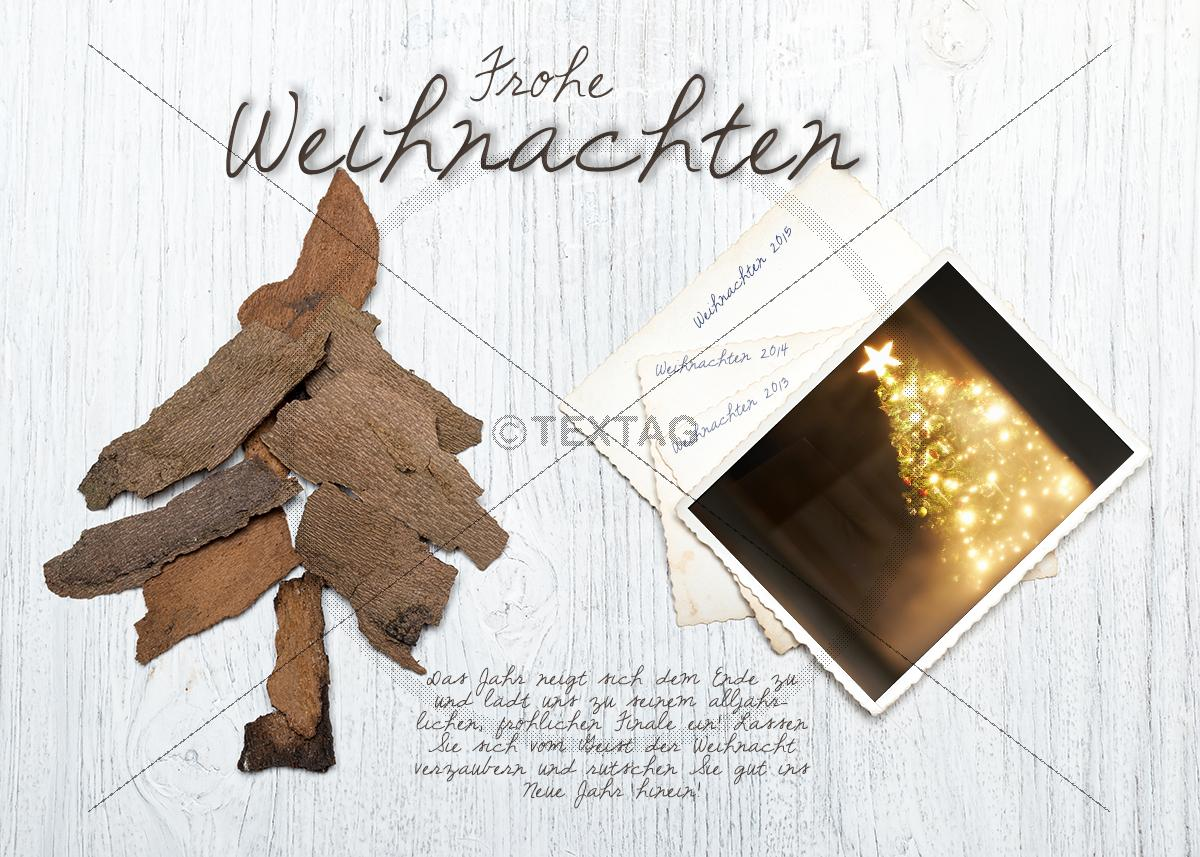 nostalgische weihnachts ecard mit christbaum aus holz. Black Bedroom Furniture Sets. Home Design Ideas