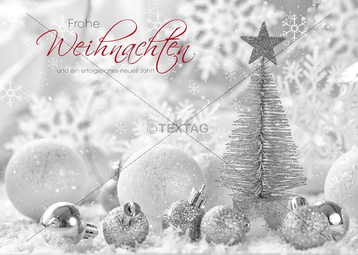 luxus pur weihnachts ecard mit silbernen weihnachtsschmuck. Black Bedroom Furniture Sets. Home Design Ideas