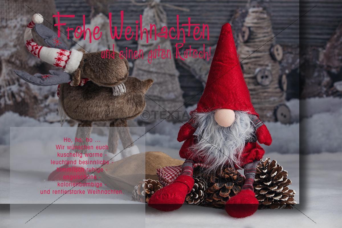 weihnachts e card lustiger wichtel mit rentier mit. Black Bedroom Furniture Sets. Home Design Ideas