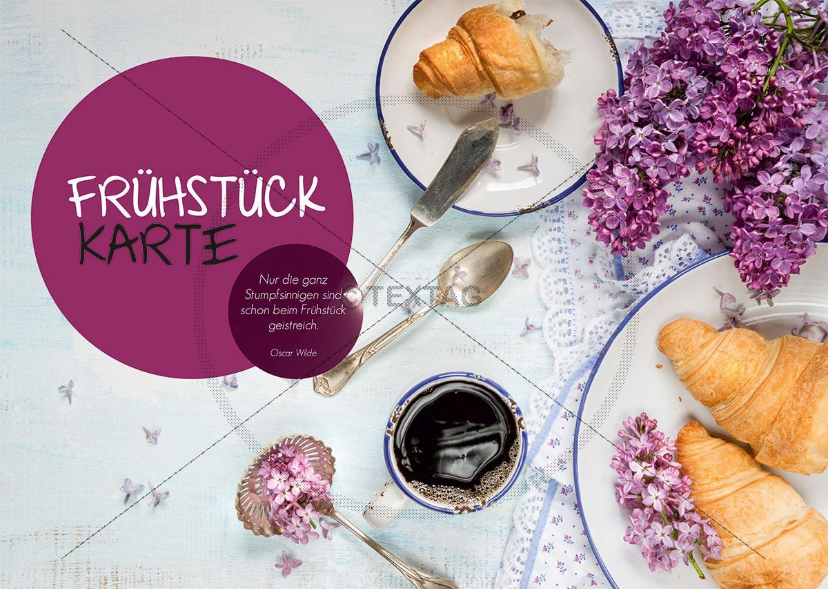Frühstückskarte Umschlag Speisekarte Vorlage Rückseite Din A4