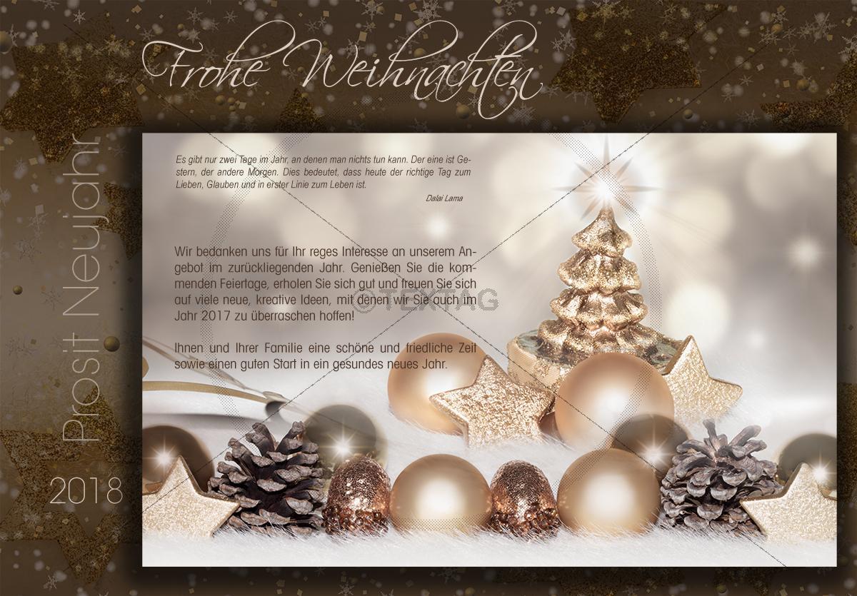 extravagante weihnachts e card in gold bronze und braun. Black Bedroom Furniture Sets. Home Design Ideas