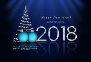 Silvester 2017 - E-Card - Prosit Neujahr in blau mit Kugeln und Weihnachtsbaum NSL-2018-00219