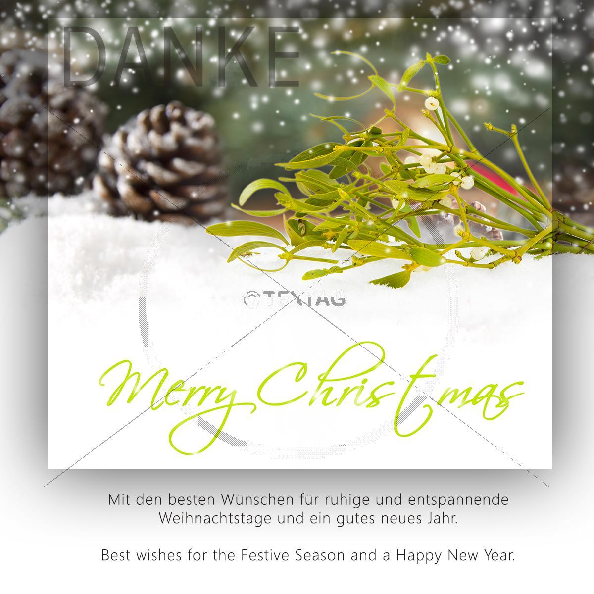 gesch ftliche weihnachts e card mit mistelzweig mit spruch. Black Bedroom Furniture Sets. Home Design Ideas