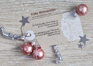 nostalgische Weihnachtskarte für Kunden in silber & rose • E-Card (280)