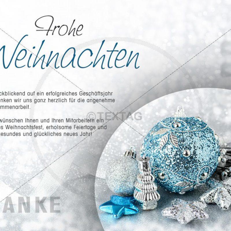 edle Weihnachtskarte für Kunden in silber & türkis • E-Card (282)