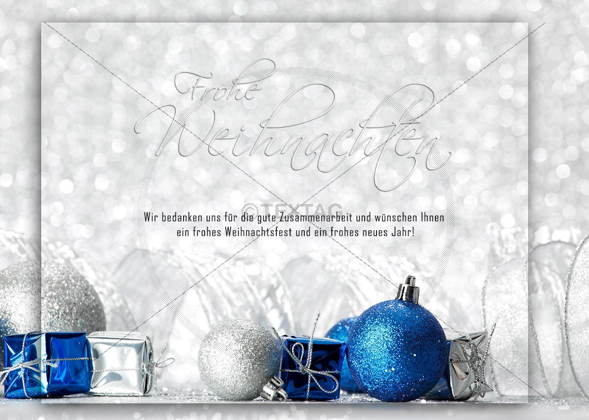 extravagante weihnachtskarte in blau und silber e card. Black Bedroom Furniture Sets. Home Design Ideas