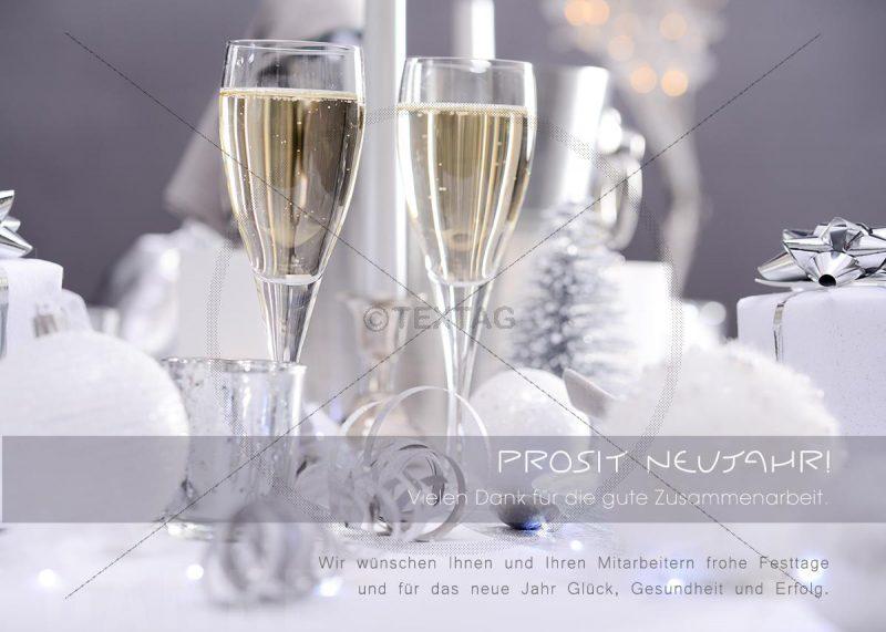luxuriöse Silvester E-Card mit Champagner Gläser (290)