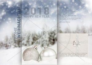 extravagante Weihnachts E-Card mit Geschenkpaket & silberen & weißen Kugeln (295)