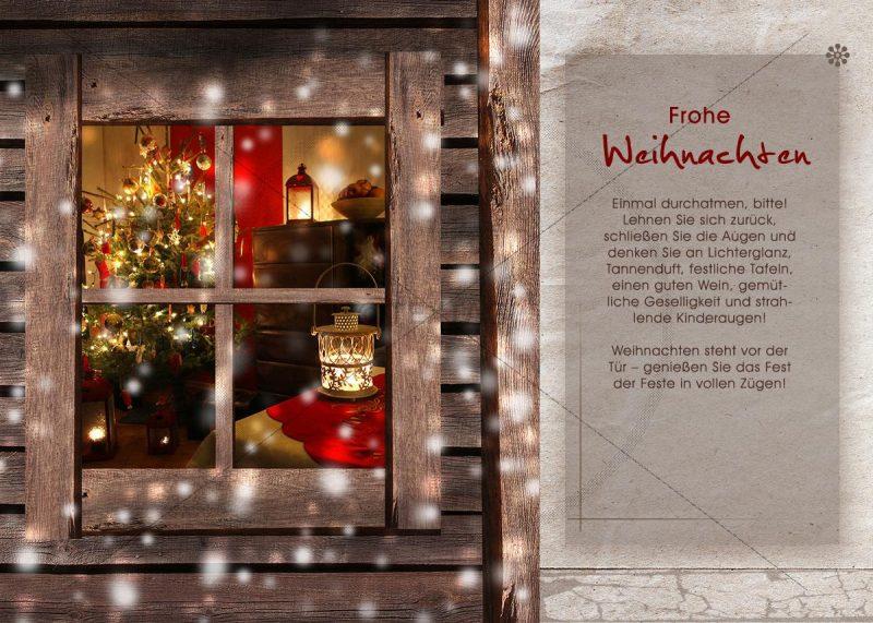 nostalgische Weihnachtskarte E-Card mit Christbaum hinterm Fenster (299)