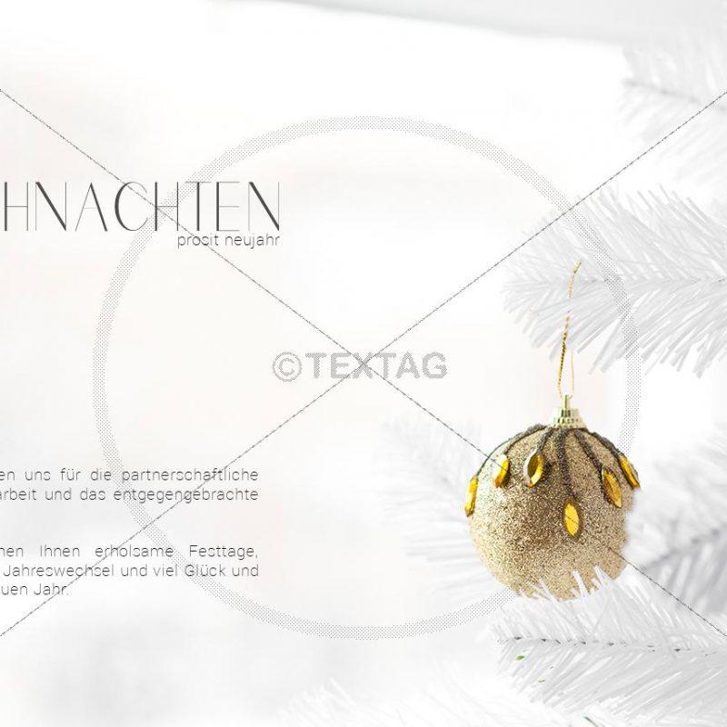 elegante Weihnachtskarte E-Card in Weiß mit goldener Christbaumkugel (301)