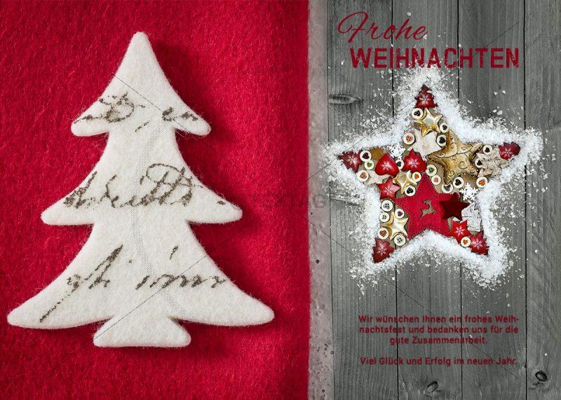 nostalgische Weihnachtskarte E-Card für Geschäftskunden in rot und grau (302)