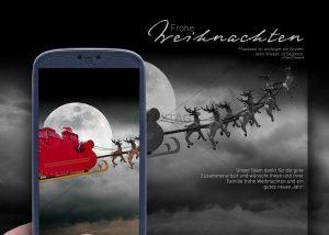 witzige Weihnachts E-Card mit gefangenen Santa Claus und fliegendem Rentierschlitten im Handy (303)