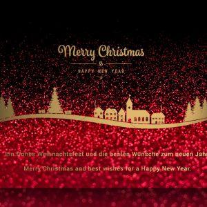 extravagante, stylische Weihnachts- e-Card in rot-schwarz-gold, geschäftlich, ohne Werbung (304)