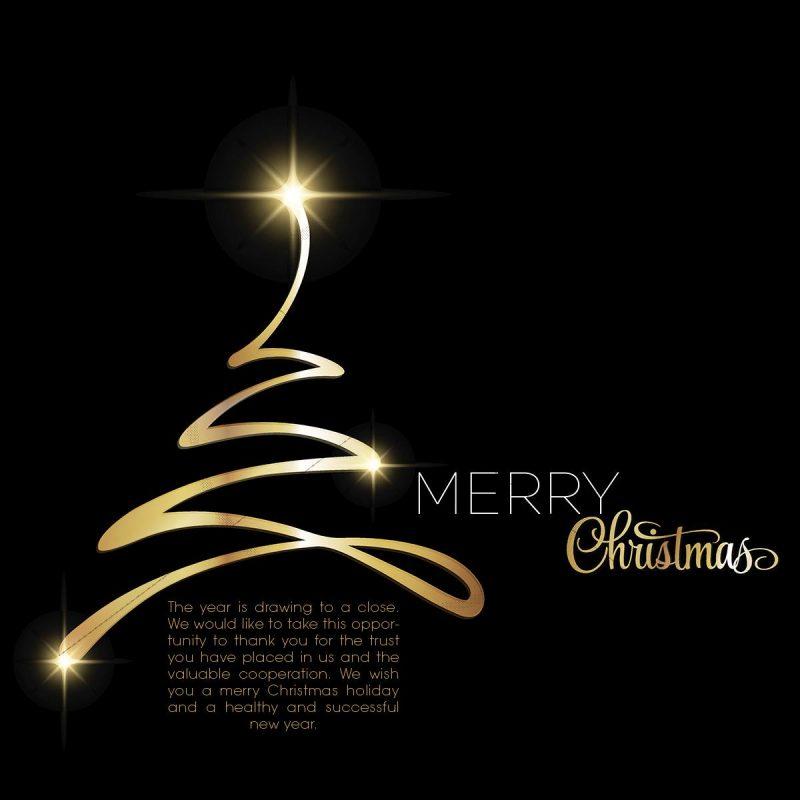 extravagante, stylische Weihnachts- e-Card schwarz-gold, geschäftlich, in EN (305)