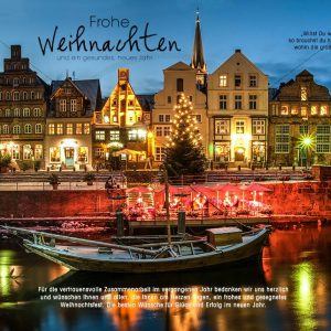 romantische Weihnachts E-Card vom Hafen in Lüneburg, ohne Werbung (309)