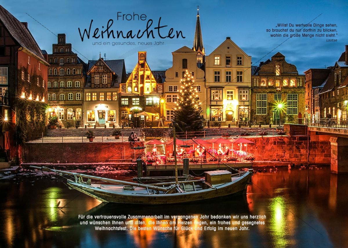 romantische weihnachts e card vom hafen in l neburg ohne. Black Bedroom Furniture Sets. Home Design Ideas