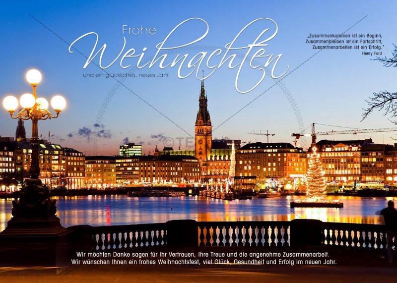 romantische Weihnachts E-Card, mit Christbaum in der Alster in Hamburg, ohne Werbung (310)