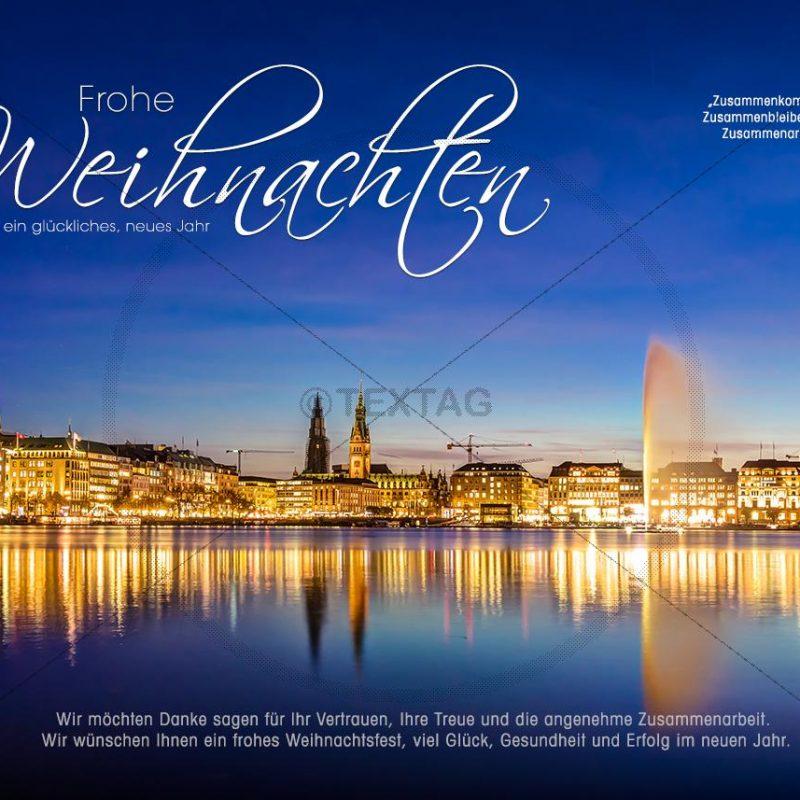 edle Weihnachts E-Card, mit Springbrunen in der Alster in Hamburg, ohne Werbung (311)