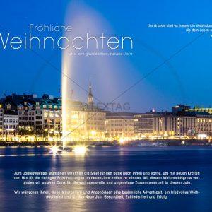 edle Weihnachts E-Card, mit Springbrunen in der Alster in Hamburg, ohne Werbung (312)