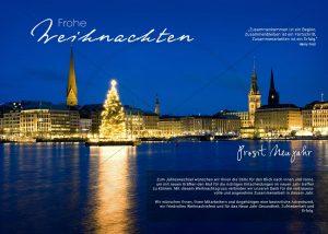 exklusive Weihnachts E-Card mit Christbaum auf der Alster in Hamburg, ohne Werbung (314)