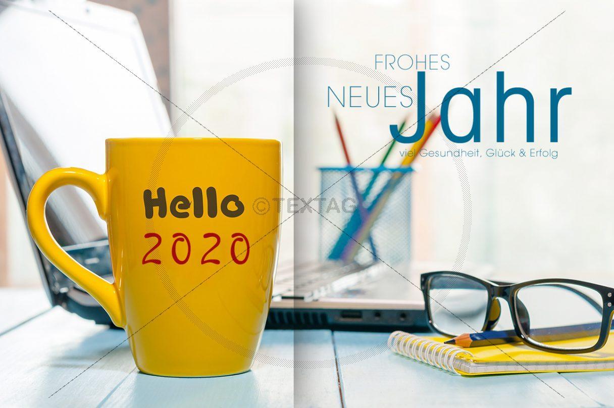 lustige Neujahrs-E-Card Büro mit Kaffeetasse (272)
