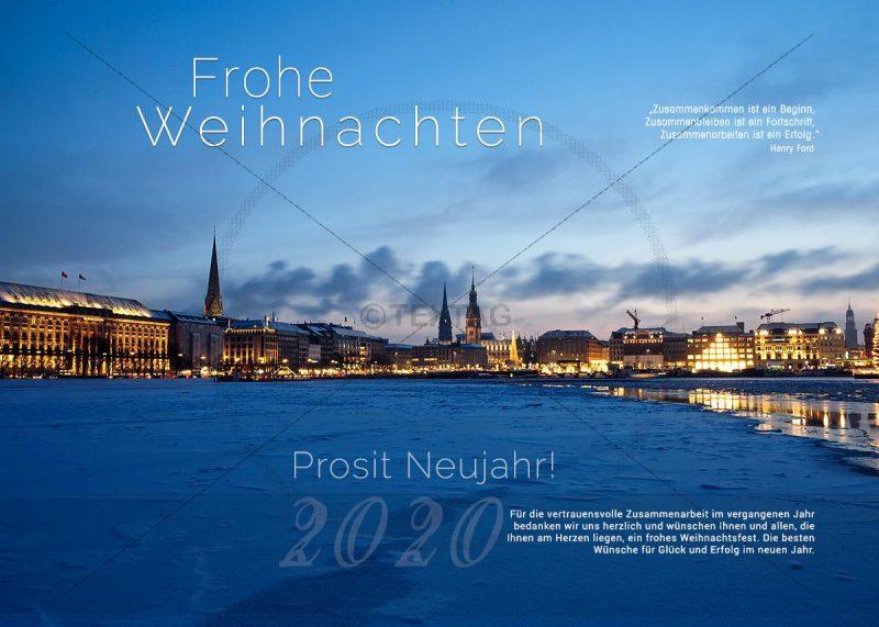 stimmungsvolle Weihnachts E-Card, mit Schneedecke auf der Alster in Hamburg, ohne Werbung (313)