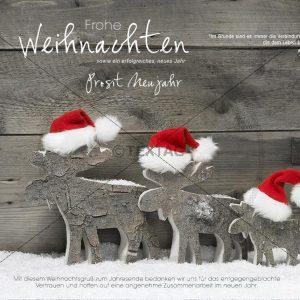 lustige Weihnachts-Card - Elche mit Weihnachtsmütze (316)