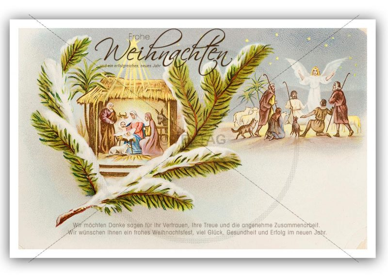nostalgische Weihnachts-E-Card mit Krippe und hl. drei Könige (318)