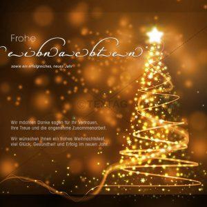 elegante geschäftliche Weihnachts E-Card mit glitzerndem Weihnachtsbaum in Bronze (321)