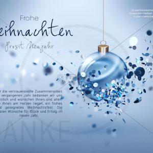 extravagante geschäftliche Weihnachts E-Card mit blauer Weihnachtskugel (322)