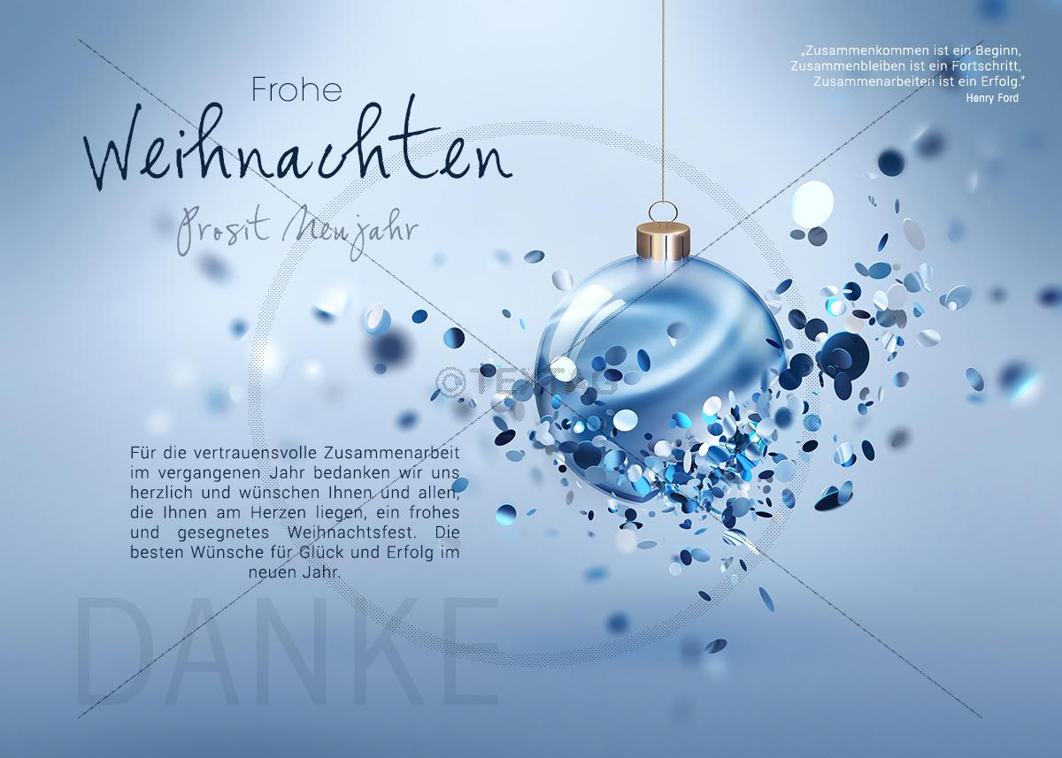 extravagante gesch ftliche weihnachts e card mit blauer. Black Bedroom Furniture Sets. Home Design Ideas