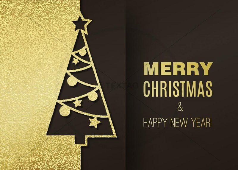 extravagante geschäftliche Weihnachts E-Card in gold und braun (323)