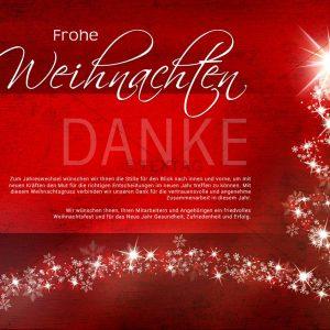 kreative geschäftliche Weihnachts E-Card in rot mit Weihnachtsbaum und Sternen (324)