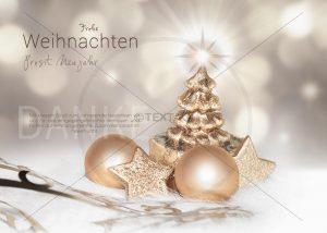 kreative geschäftliche Weihnachts E-Card in gold mit Weihnachtsbaum und Christbaumkugeln (325)