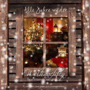 nostalgische Weihnachts E-Card mit geschmückten Weihnachtsbaum hinterm Fenster (326)