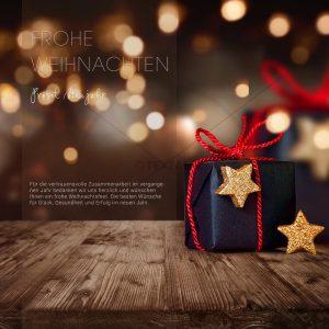 digitale Weihnachts E-Card in Bronze mit schwarzem Geschenkpaket (328)
