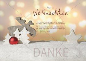 Lustige, digitale Weihnachts-E-Card mit Elch, mit Stern, Weihnachtsbäumen und roten Christbaumkugel (329)