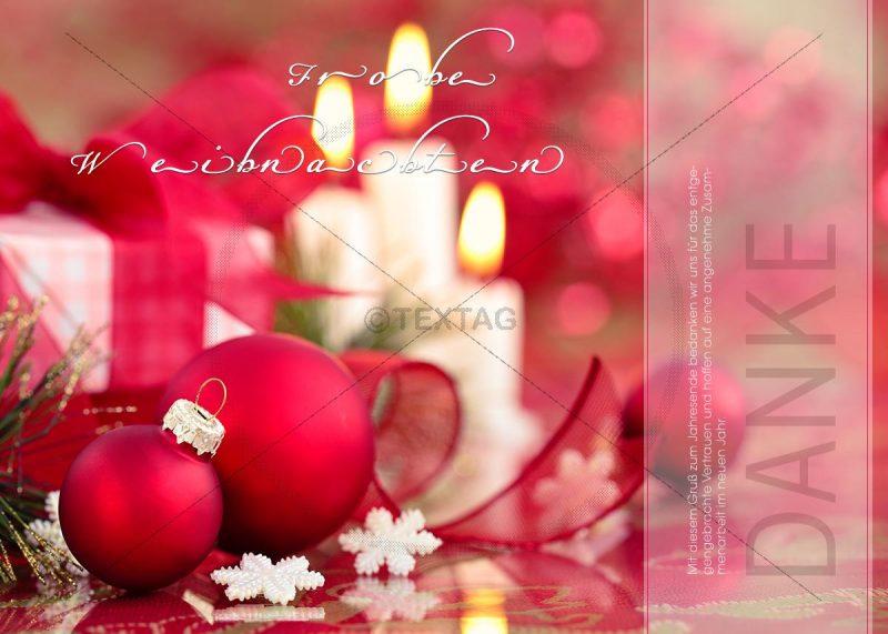Edle Weihnachts-E-Card mit roten Kugeln und Kerzen (330)