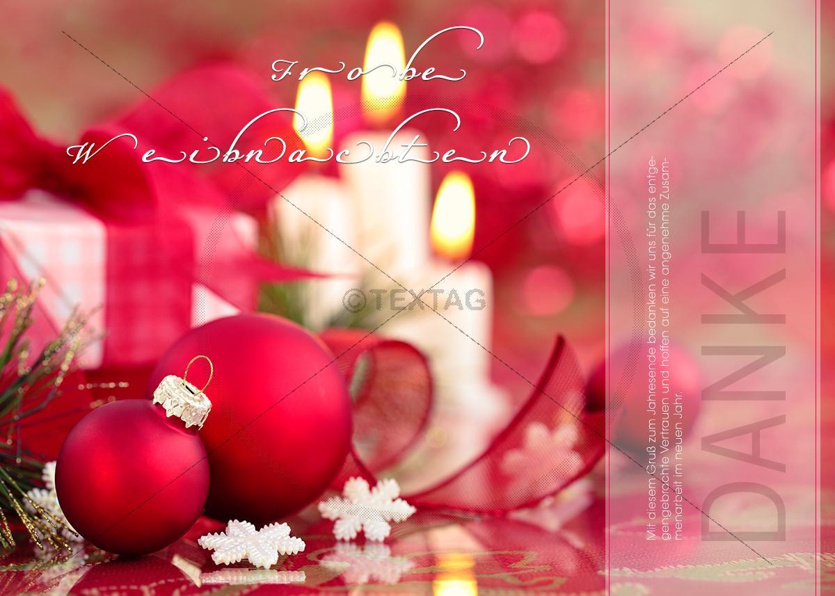 edle weihnachts e card mit roten kugeln und kerzen 330. Black Bedroom Furniture Sets. Home Design Ideas