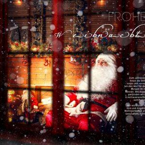 nostalgische E-Card -erschöpfter Weihnachtsmann (332)