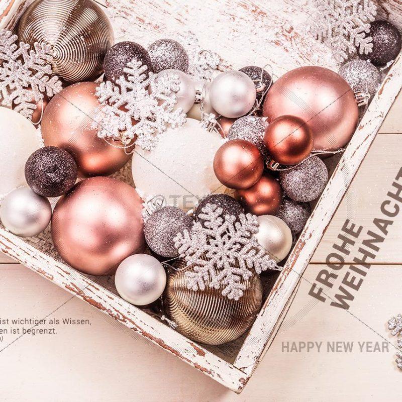 edle Weihnachts E-Card - Christbaumkugeln im Karton in Pastell Farben (338)