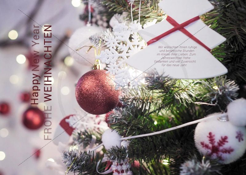 romantische Weihnachts-E-Card mit Weihnachtsbaum und Christbaumkugeln (339)