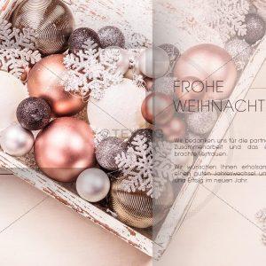 edle Weihnachts E-Card - Christbaumkugeln im Karton in Pastell Farben (341)