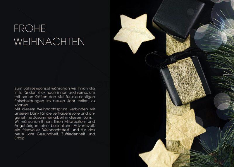 extravagante Weihnachts E-Card in schwarz mit goldenem Geschenkpaket (342)