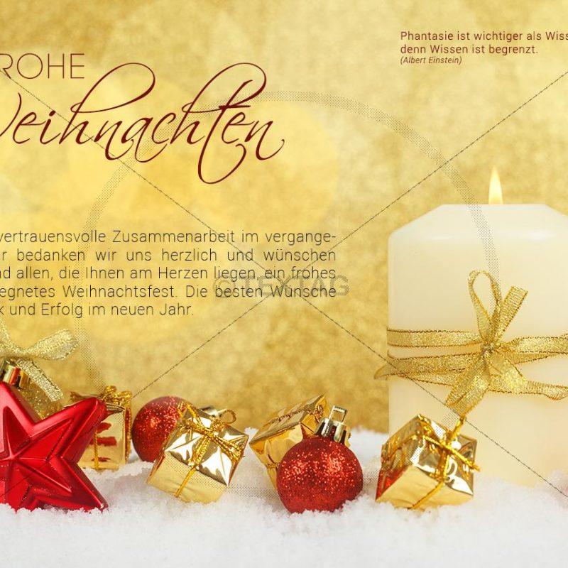 elegante Weihnachts E-Card in gold mit Kerze, roten Kugeln (343)