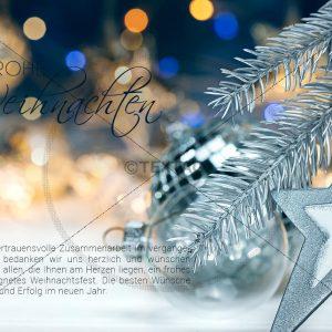 virtuelle, geschäftliche Weihnachts E-Card in Blau und türkis (344)