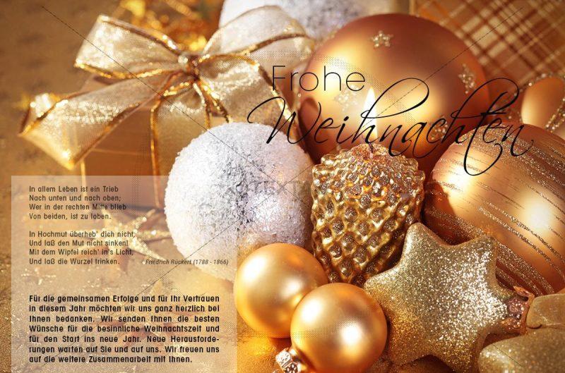 elegante Weihnachts E-Card mit Christbaumkugeln in gold und bronze (346)